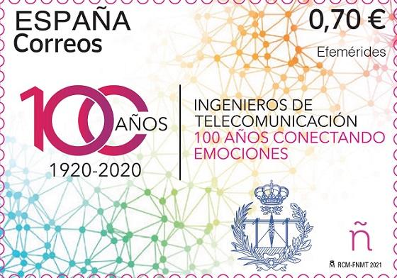 Sello conmemorativo del centenario del título de Ingeniero de Teleco.