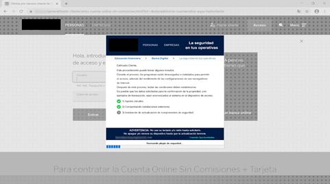 Ejemplo de Bizarro bloqueando la página de inicio de sesión de un banco y avisando al usuario de que se están instalando actualizaciones de seguridad