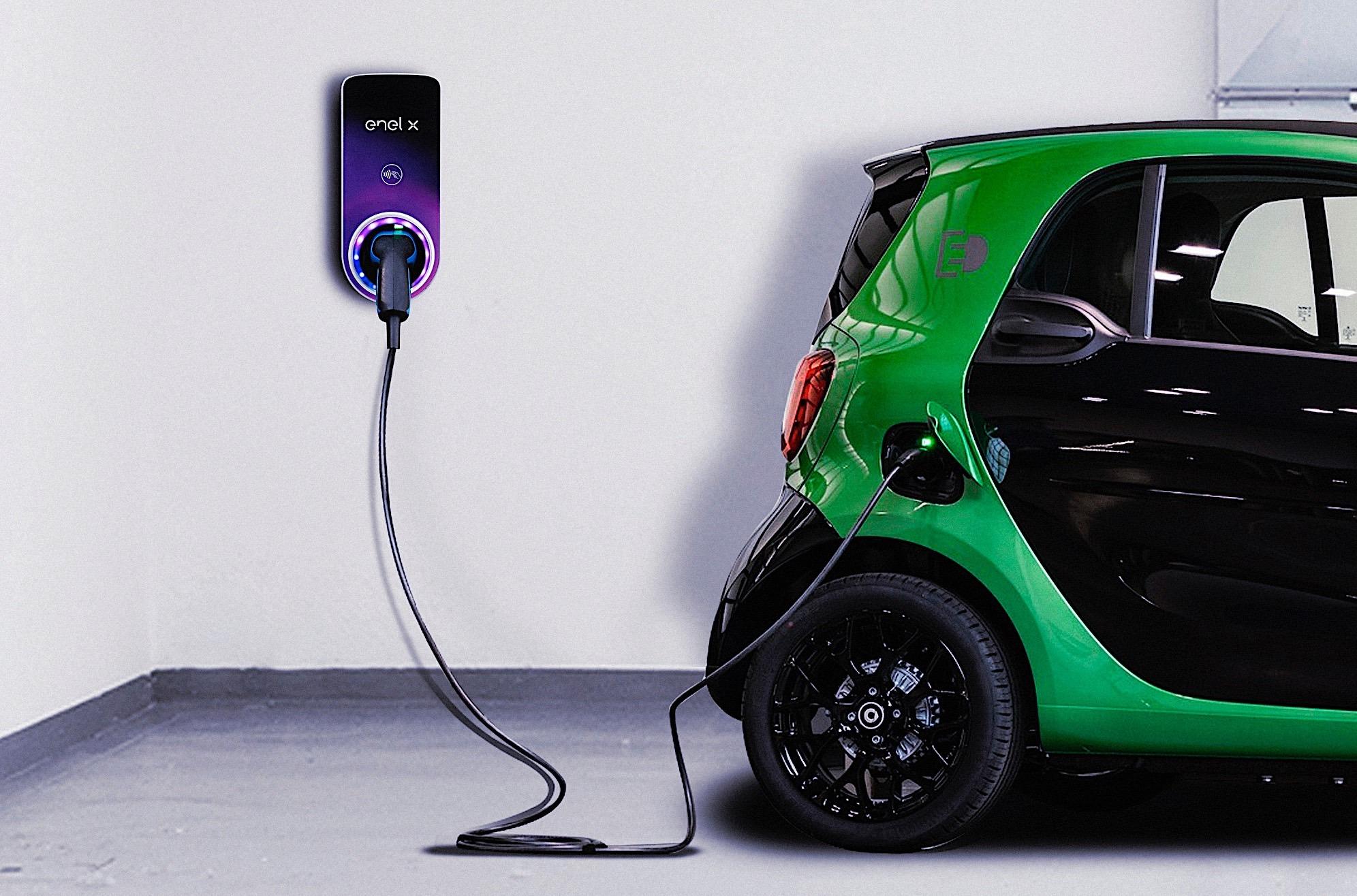 Punto de recarga de coche eléctrico JuiceBox de Enel X.