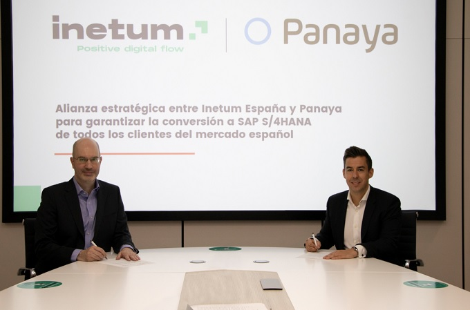 Ignacio Artiaga, director de la SAP Business Line para España y LATAM en Inetum, y Pablo Iglesias, director de Panaya par España.