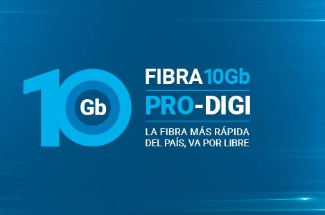 Digi ofrece fibra de hasta 10 Gbps.