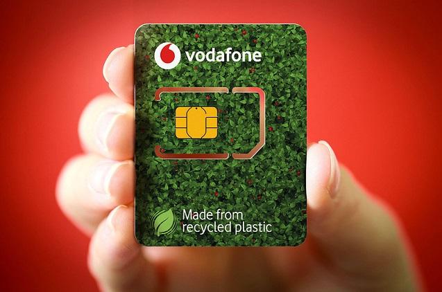 Vodafone lanza tarjetas Eco-SIM fabricadas con plástico reciclado.