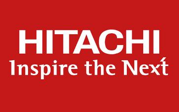 Hitachi, logo, fondo, rojo,