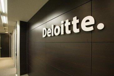 Deloitte, logo, en, pared,