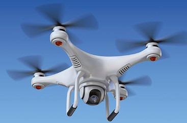 Un dron en pleno vuelo.