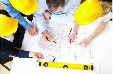 diseño, arquitectos, cascos, amarillos, plano,