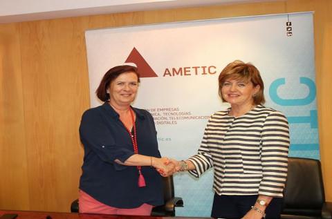María Teresa Gómez Condado y Yolanda de Aguilar, directoras generales de AMETIC y Fycma
