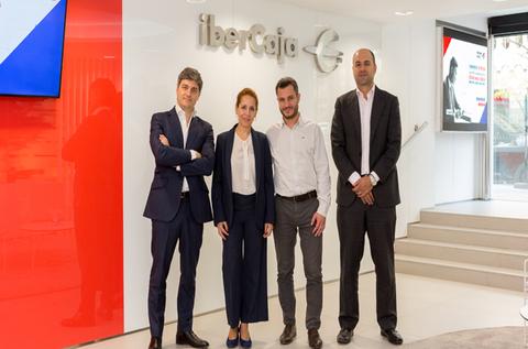 Tiago Monteiro, director de Servicios de Microsoft Ibérica, Ana Alonso, directora de Grandes Cuentas y Partners de Microsoft Ibérica, Nacho Torre, director de Área de Marketing y Estrategia Digital de Ibercaja, y Leandro Hermida, director de Tecnología