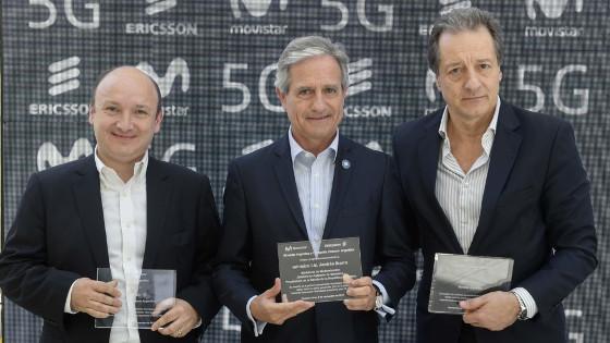 Nicolás Brancoli, vicepresidente de Ericsson en Sudamérica; Andrés Ibarra, ministro de Modernización de Argentina; y Federico Rava, presidente ejecutivo de Telefónica Argentina.