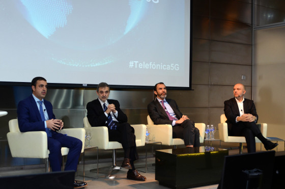 Álvaro Sánchez, de Nokia; Luis Miguel Gilpérez, presidente de Telefónica España; José Antonio López, presidente de Ericsson España, y Joaquín Mata, de Telefónica España