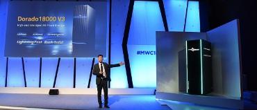 Presentación del OceanStor de Huawei en el MWC.
