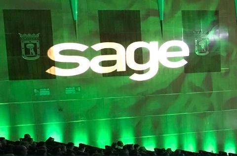 Logo de Sage en un evento de la compañía.