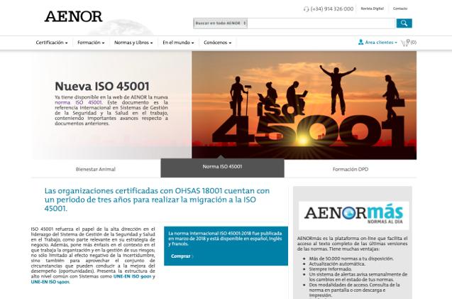 Nueva web de AENOR.
