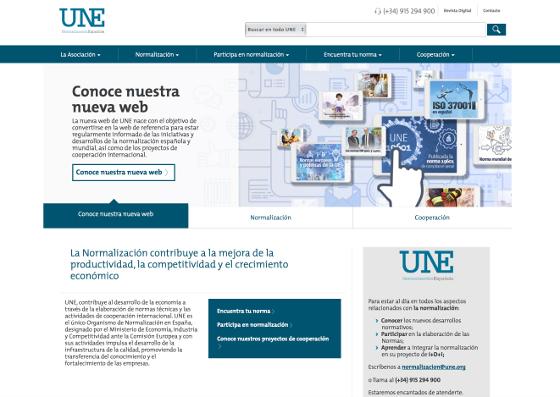 Nueva web de UNE.