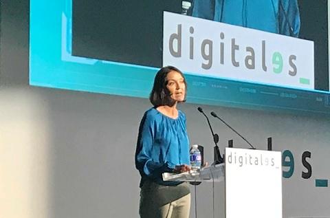 La ministra de Industria, Comercio y Turismo, Reyes Maroto, durante la inauguración de Digitales