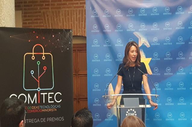 La Secretaria de Estado de #comercio Xiana Mendez, clausura el acto de entrega de premios del I #Concurso de Ideas Tecnológicas para el Comercio Minorista.