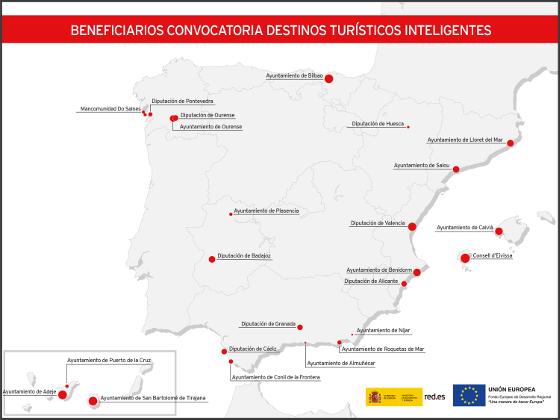 Mapa destinos inteligentes seleccionados por Red.es