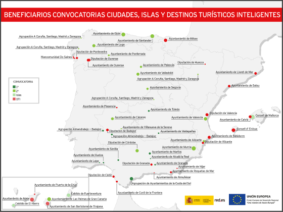 Mapa ciudades inteligentes seleccionados por Red.es