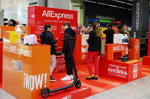 Pop up de Aliexpress en El Corte Inglés.