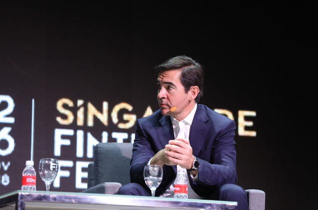 Carlos Torres Vila, consejero delegado de BBVA, durante su intervención en 'Singapore Fintech Festival'