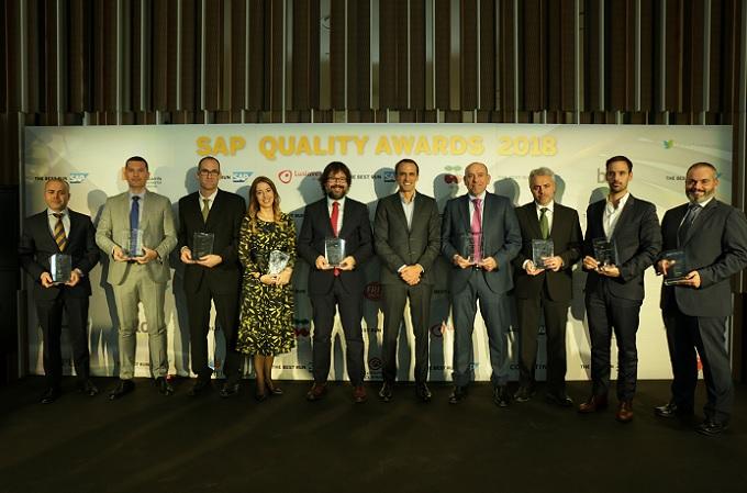 Galardonados durante la entrega de premios de los SAP Quality Awards 2018