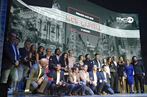 Foto de familia de los premiados de MCR en 2018.