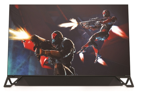 Monitor Omen para gaming con barra de sonido incorporada.
