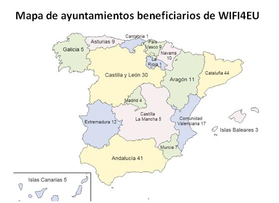 224 ayuntamientos españoles subvencionados por el programa WIFI4EU