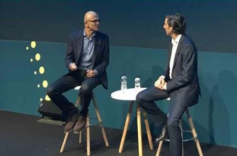 Satya Nadella, CEO de Microsoft y , José María Álvarez-Pallete, presidente ejecutivo de Telefónica