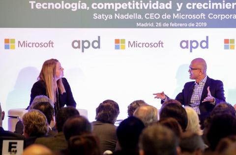 Satya Nadella, durante su charla en Madrid.