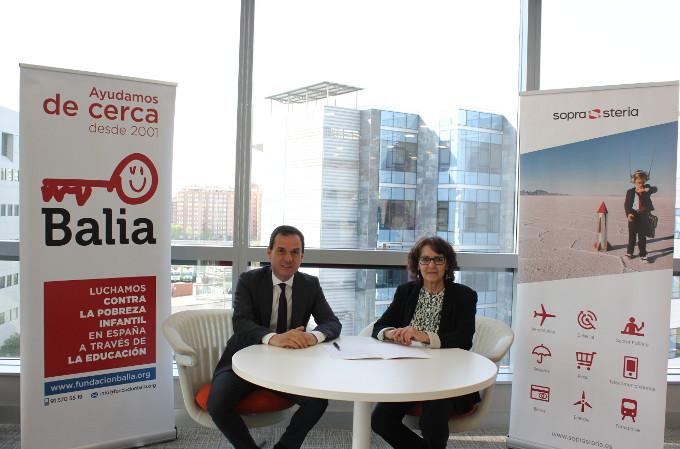 Antonio Peñalver Grau, Director General de Sopra Steria España, y Teresa Rodríguez Hervás, la Directora General de Fundación Balia.