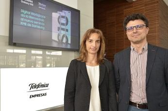 Marisa Urquía, directora de Empresas en Telefónica España, y David Alonso, director del Área de Empresas de Samsung España.