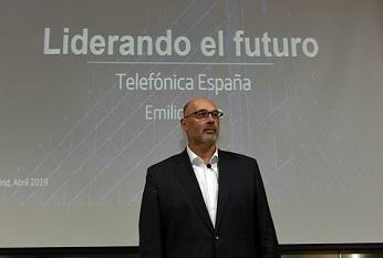 Emilio Gayo, presidente de Telefónica España, durante la presentación de la nueva estrategia.