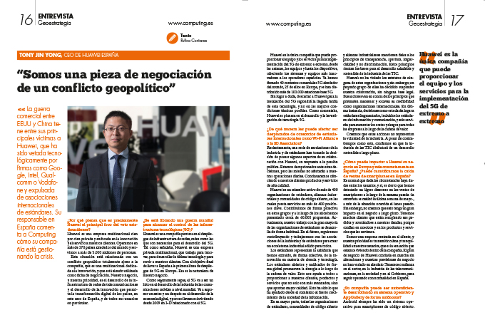Entrevista a Tony Jin Yong, CEO de Huawei España.