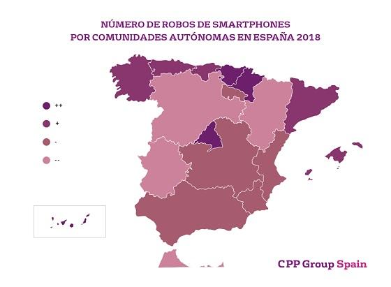 Robos de smartphones por Comunidad Autónoma en 2018. Fuente: CPP Group Spain