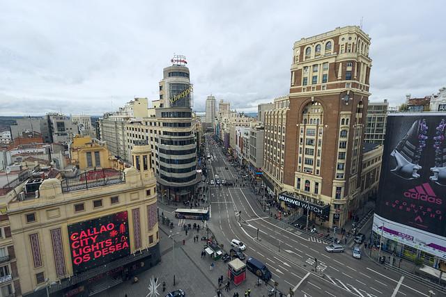 Vista de la Gran Vía madrileña.