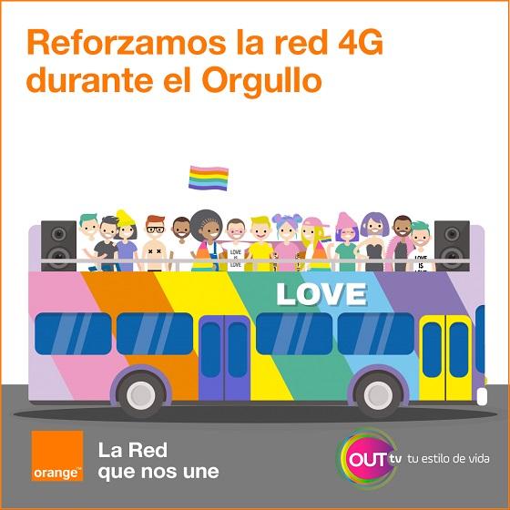 Orange refuerza su red móvil para la fiesta del Orgullo 2019