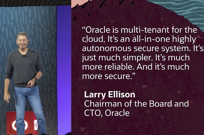 Larry Ellison, presidente del Consejo y Chief Technology Officer de Oracle durante su intervención en el OpenWorld 2019