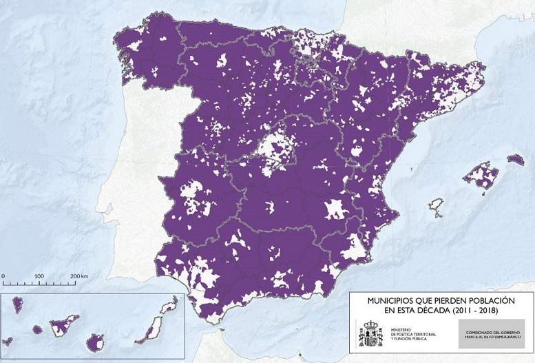 Municipios que pierden población (2011 - 2018)