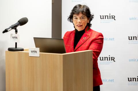Isabel Celaá, Ministra en funciones de Educación y Formación Profesional, en la sede de UNIR en Madrid.