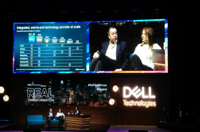 Ricardo Labarga, Director General de Commercial Business, e Isabel Reis, Directora General de Enterprise para Iberia de Dell Technologies, en el Dell Technologies Forum 2019.