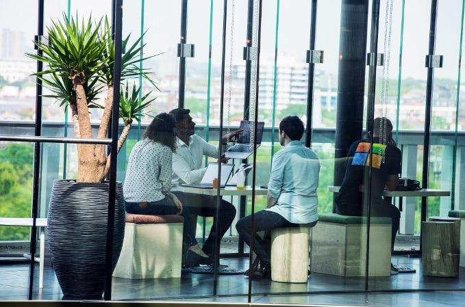 Área de descanso en unas oficinas de Microsoft.