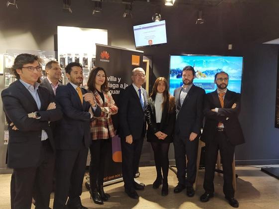 Equipo Málaga en la primera videollamada 100% 5G entre dos ciudades europeas.