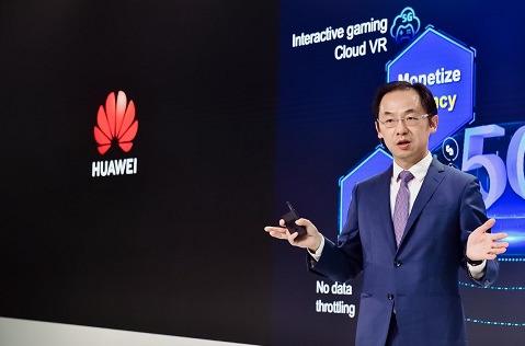 """Ryan Ding, presidente de la Unidad de Negocio de Carrier de Huawei, durante su discurso """"5G, Bring New Value""""."""