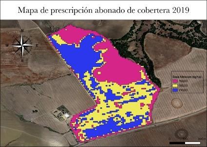 Mapas de rendimiento e imágenes para el proyecto de agricultura de precisión en Andalucía.