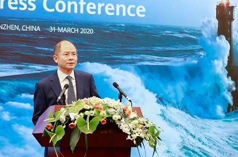 Eric Xu, presidente rotatorio de Huawei, durante la presentación de resultados de 2019 de la compañía.