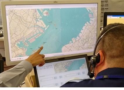 Evaluación por el controlador de operaciones en el Tokyo Wan Vessel Traffic Service Center.
