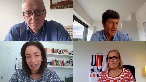 Representantes de CCOO, UGT, Telefónica y UNI Global Union.