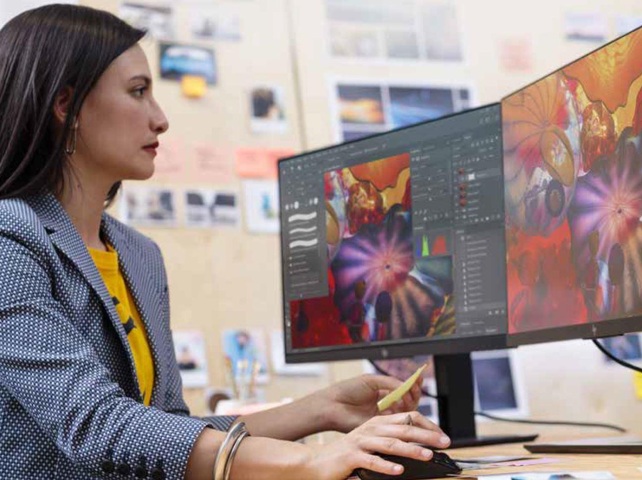 Monitores de HP para trabajo de alto rendimiento.