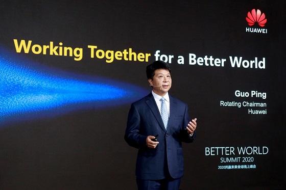 Guo Ping hablando sobre el éxito comercial del 5G durante el Better World Summit 2020.